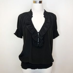 Joie sz S Puff sleeve Blouse Top Ruffle front